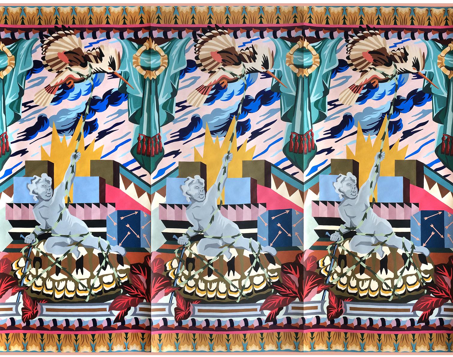 serie les papiers mains  tríptico #1  3 lés raccordés 65 cm x 150 cm 2019